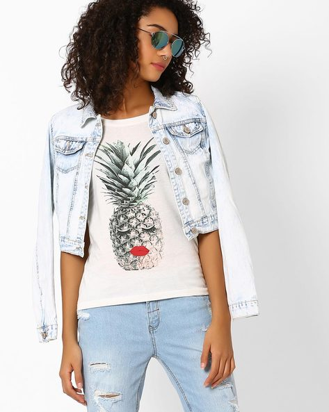 Graphic Print Cotton T-shirt By Vero Moda ( White )