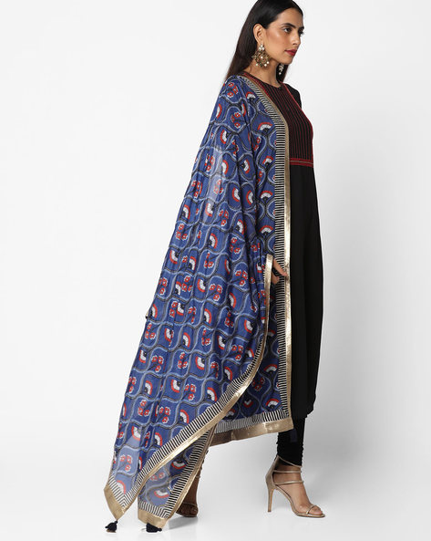 Printed Dupatta With Contrast Taping By W ( Blue )