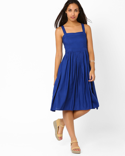 Fit-&-Flare Dress With Cut-Out Back By CHEMISTRY ( Blue )