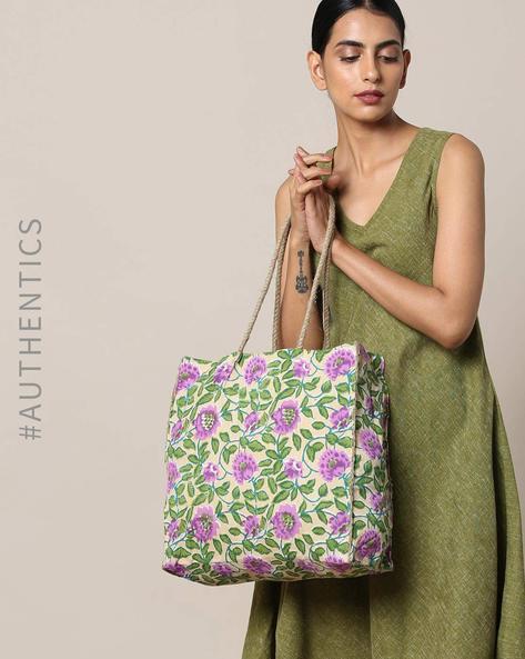 Sanganeri Handblock Print Cotton Jute Handbag By Awdhesh Kumar ( Purple )