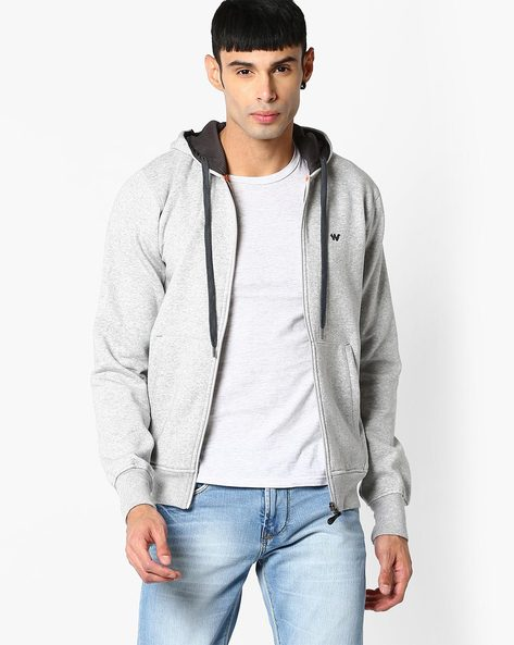 Hooded Sweatshirt With Front Zipper By Wildcraft ( Grey )