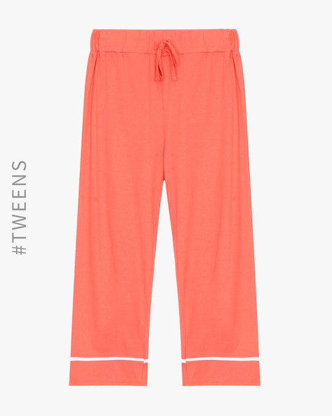 Cotton Lounge Track Pants By AJIO Girl ( Coral )