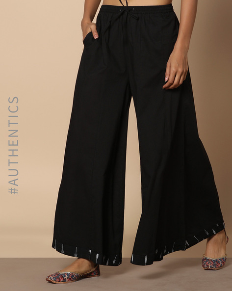 Flared Palazzos With Printed Hem By Project Eve IW Evening ( Black )