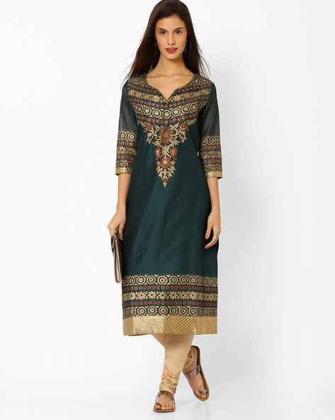 Chanderi Silk Printed Kurta By Shakumbhari ( Green )