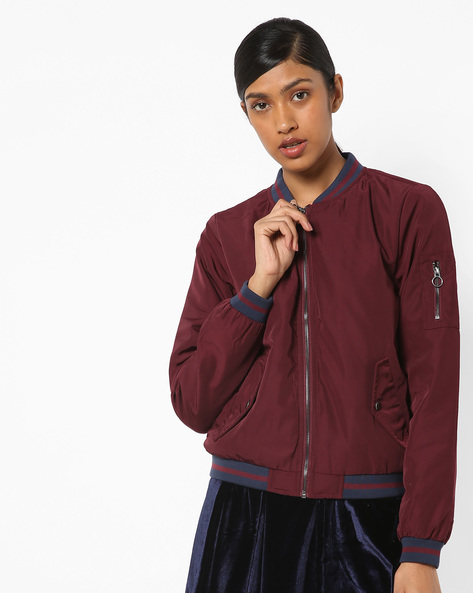 Zip-Front Jacket With Band Collar By Only ( Dkpurple )
