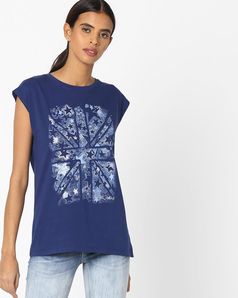 Printed T-shirt With Cap Sleeves By Pepe Jeans ( Blue )