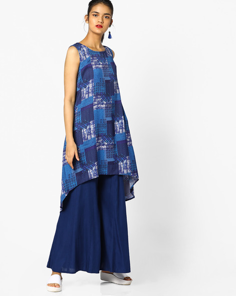 Printed Tunic With High-Low Hem By Project Eve IW Fusion ( Blue )