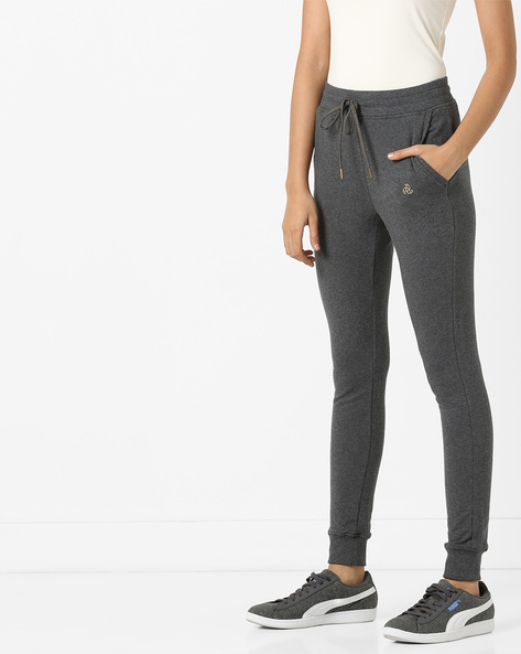 Heathered Track Pants With Drawstring Waist By Jockey ( Charcoal )