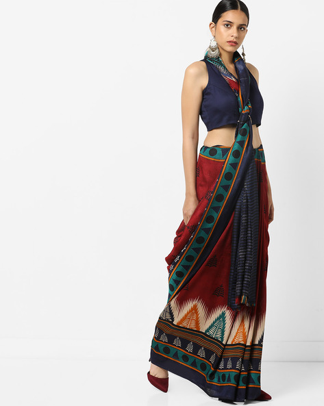 Printed Saree With Blouse By Florence ( Multi ) - 460174805001