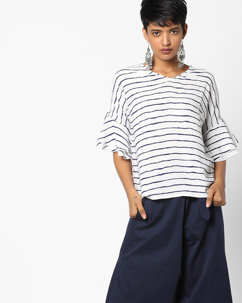 Striped Top With Ruffled Bell Sleeves By Project Eve WW Casual ( Blue )
