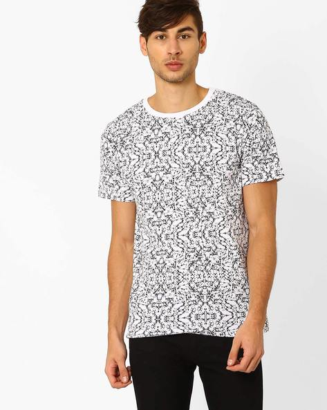Slim Fit Printed T-shirt By Blue Saint ( Blackwhite )
