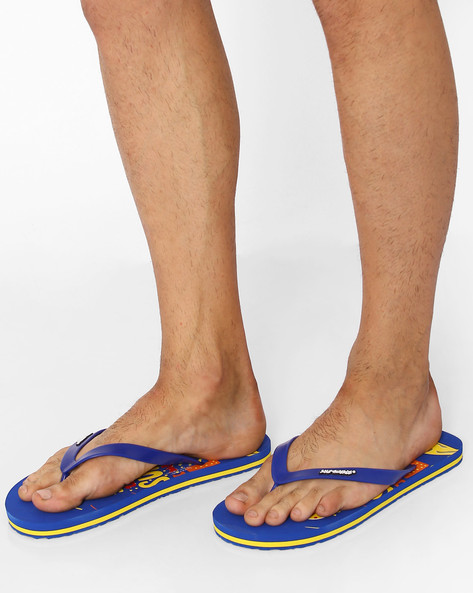 Survival Graphic Print Flip-Flops By Sole Threads ( Blue )