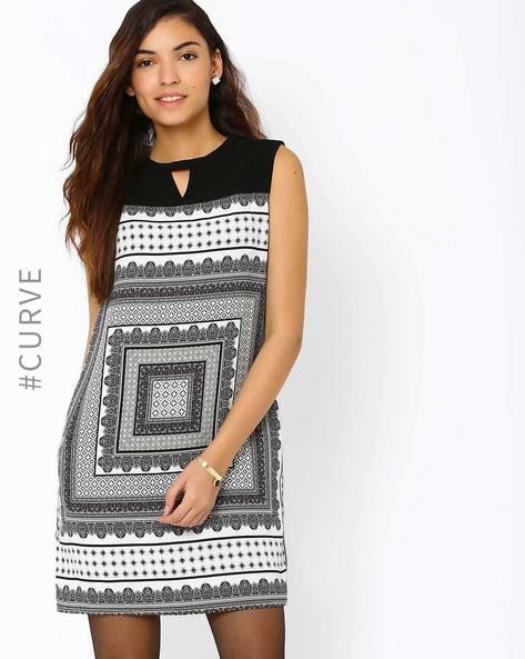 Ajrak Print Shift Dress By AJIO ( Black )