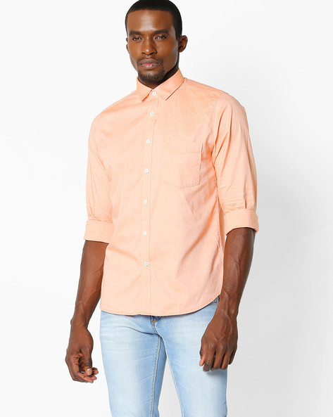 Slim Fit Shirt With Patch Pocket By VIMAL ( Orange )