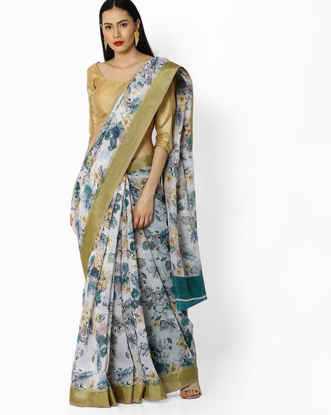 Floral Print Saree By Amori ( Turquoise )