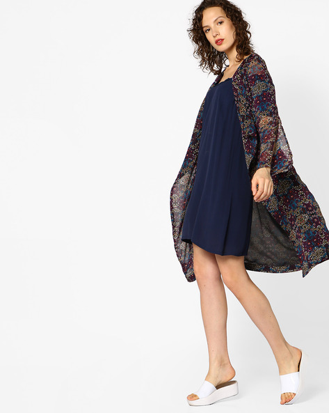 Floral Print Shrug With Tie-Up By AJIO ( Black )