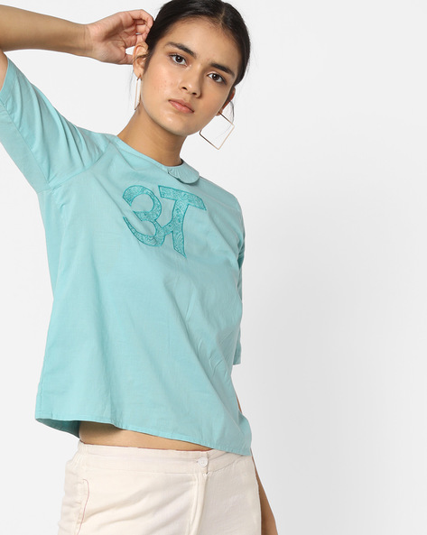 Panelled Top With Typographic Embroidery By AJIO ( Aqua )