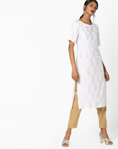 Foil Print Straight Kurta By ZIYAA ( White )