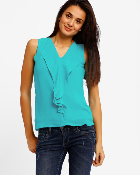 Ruffled Top By Style Quotient By Noi ( Aqua )