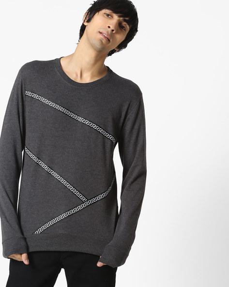 Crew-Neck Sweatshirt With Contrast Taping By DEEZENO ( Grey )