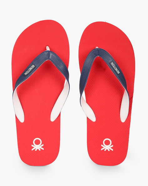 Textured Thong-Style Flip-Flops By UNITED COLORS OF BENETTON ( Red )