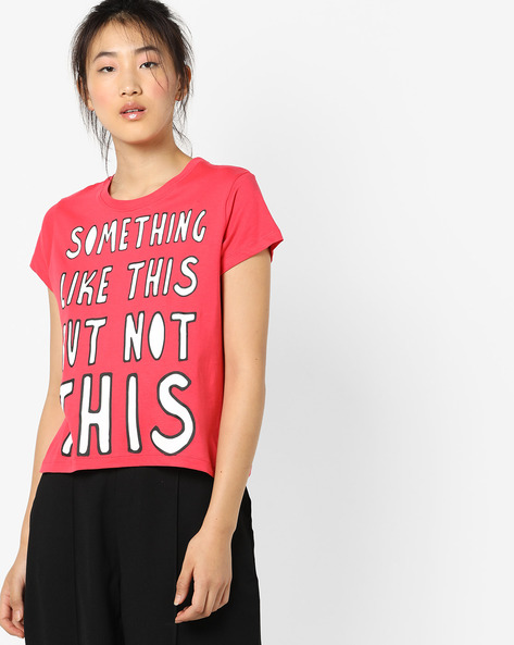 Typographic Print Crew-Neck T-shirt By AJIO ( Red )