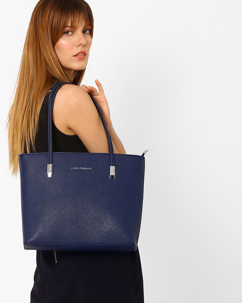 Textured Shoulder Bag By Lino Perros ( Blue )