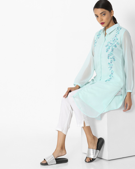 High-Low Embroidered Kurta With Shirt Collar By JASHN ( Blue )