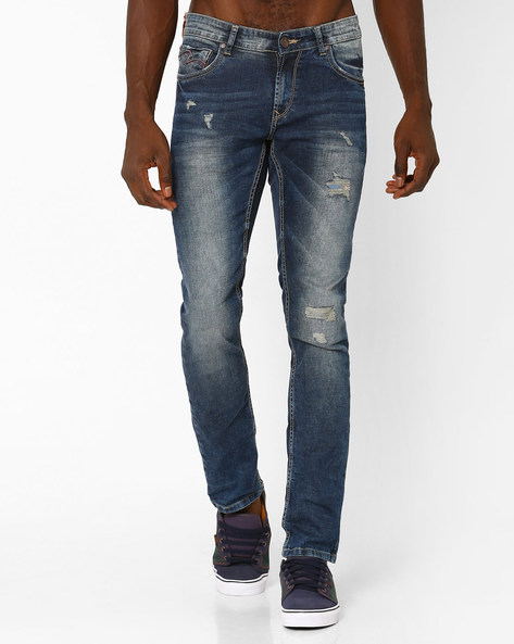 Low-Rise Skinny Fit Jeans By SPYKAR ( Blue )