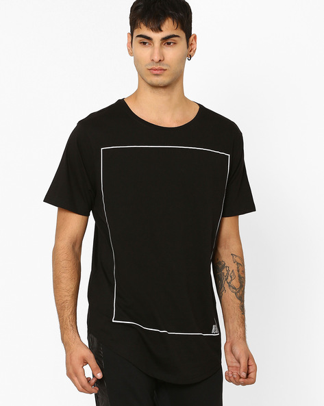 Crew-Neck T-shirt With Curved Hemline By ADAMO LONDON ( Black )