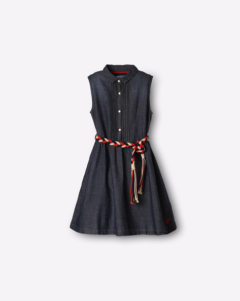 Fit & Flare Denim Dress By USPA ( Blue )