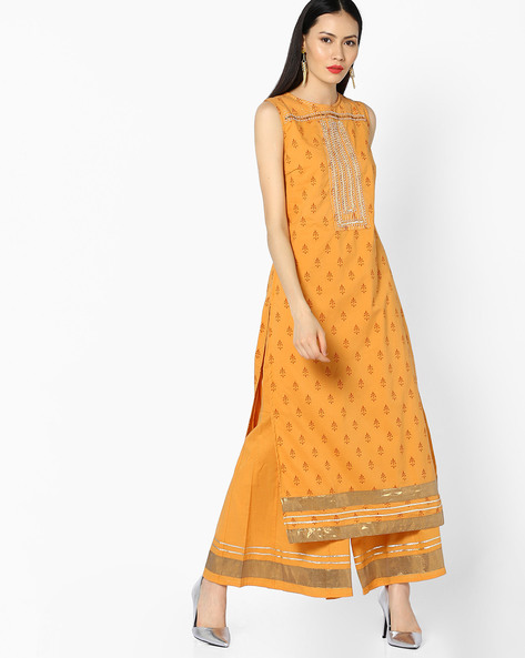 Printed Sleeveless Kurta With Gota Embroidery By AJIO ( Mustard )