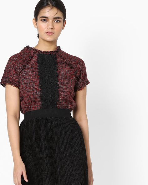 Raw-Edge Top With Lace By Project Eve WW Evening ( Darkred )