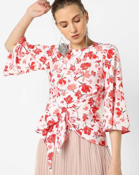 Floral Print Top With Tie-Up By Oxolloxo ( Multi )