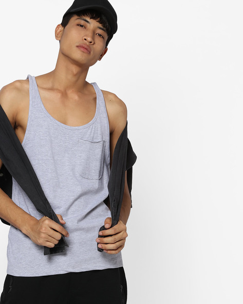 Muscle Fit Tank T-shirt With Patch Pocket By Blue Saint ( Lightgreymelange )
