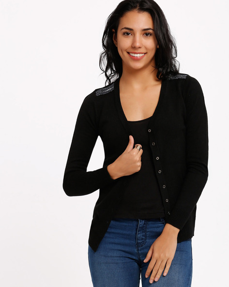 Cardigan With Embellished Shoulder Panels By SF Jeans By Pantaloons ( Black )