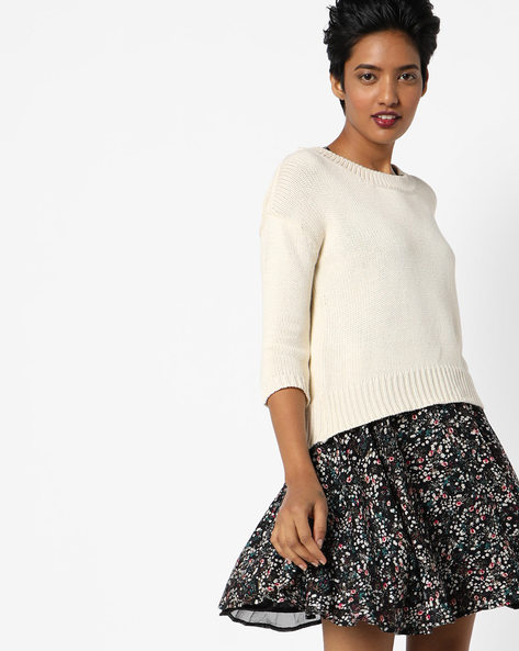 Crew-Neck Pullover With High-Low Hem By Lee ( White )