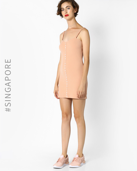 Bodycon Dress With Strappy Sleeves By MDS ( Pink )