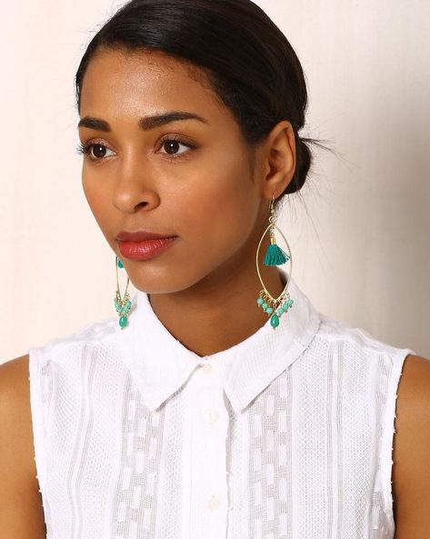 Beaded Drop-Earrings With Tassels By Indie Picks ( Multi )