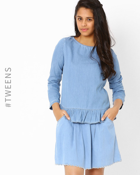 Top With Gathered Hem By AJIO ( Lightblue )