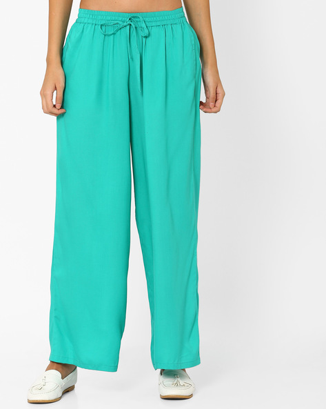 Palazzo Pants With Elasticated Waistband By AJIO ( Seagreen )
