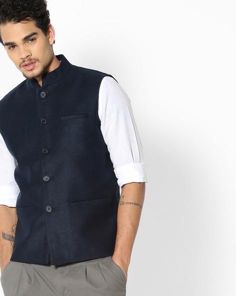 Sleeveless Nehru Jacket By NETPLAY ( Blue )