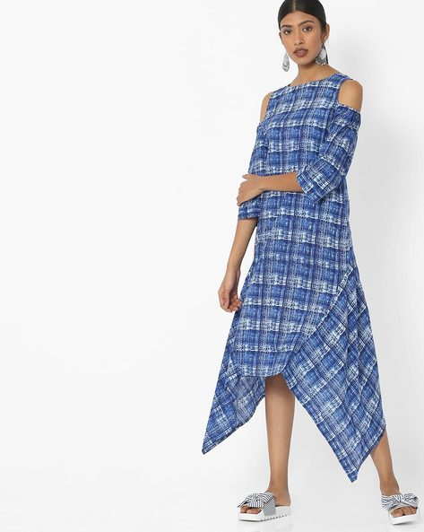 Printed Dress With Cold-Shoulder Sleeves By Desi Fusion ( Blue )