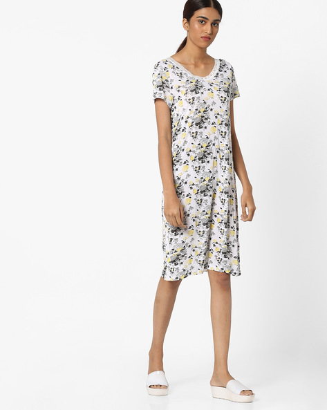 Floral Print Night Dress By Ginger By Lifestyle ( White )