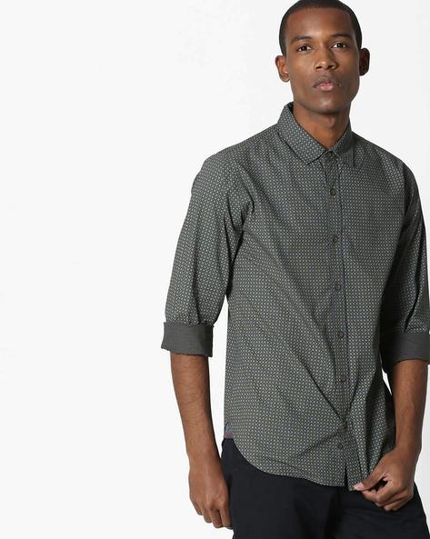 Geometric Print Cotton Shirt By UNITED COLORS OF BENETTON ( Olive )
