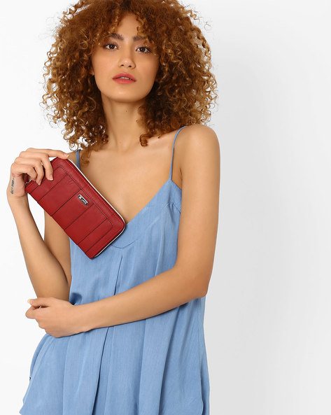 PU Wallet With Striped Panels By Lavie ( Red )