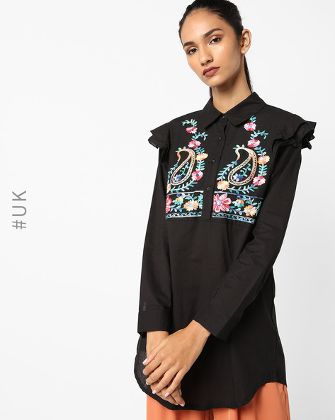 Cotton Embroidered Shirt Top By OEUVRE ( Black )