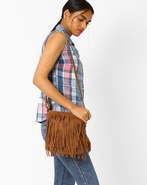 Sling Bag With Fringes By AJIO ( Beige )
