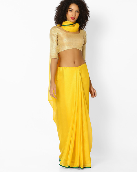 Shimmery Chiffon Saree With Contrast Border By Vastrangi ( Yellow )