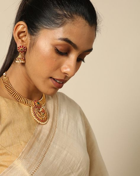 Necklace Set In Pearl And Kempu Stone By Spargz ( Gold )